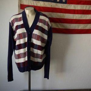 Tops - Vintage plaid space dye 70s unisex button up cardi